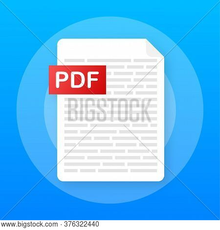 Download Pdf Button On Laptop Screen. Downloading Document Concept. File With Pdf Label And Down Arr