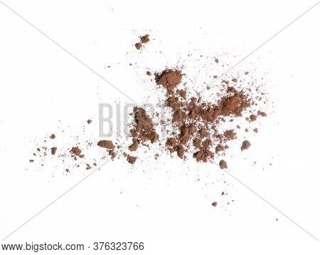 Cocoa Powder Heap On White Background Isolation, Top View