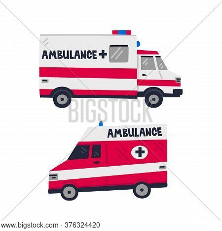 Ambulance Car. Emergency Help Service. Side View Of Two Red Emergency Cars On White Background. Simp