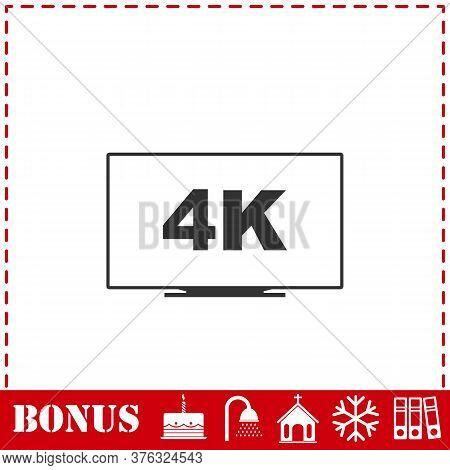 Lcd 4k Icon Flat. Simple Vector Symbol And Bonus Icon