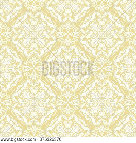 Classic Seamless Vector Pattern. Damask Orient Ornament. Classic Vintage Yellow And White Background