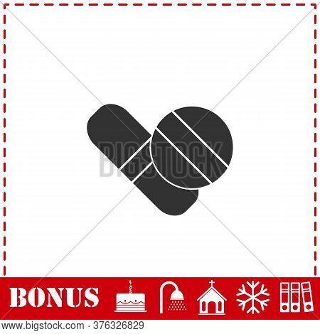 Pills Icon Flat. Simple Vector Symbol And Bonus Icon