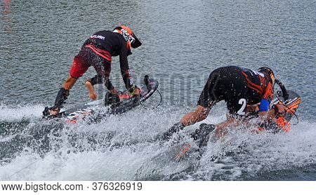 Wyboston, Bedfordshire,  England - July 07, 2019:  Start Of Motorsurf Race Two Competitors.