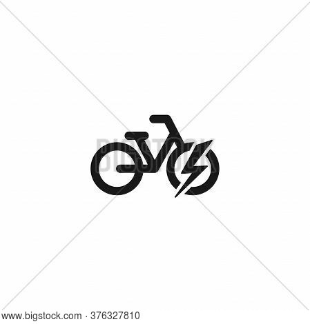 Black Bike With Lightning Bolt Icon. Flat Electric Bicycle Isolated On White.