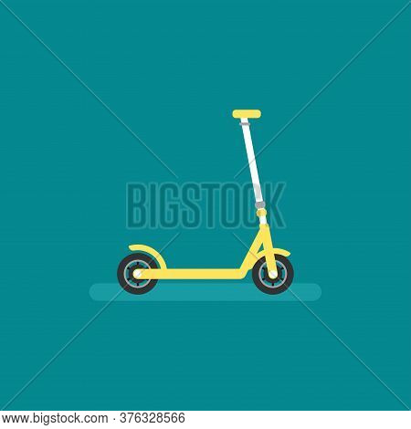 Yellow Kick Scooter Or Balance Bike Icon. Flat Push Scooter On Blue Background. Vector Illustration.