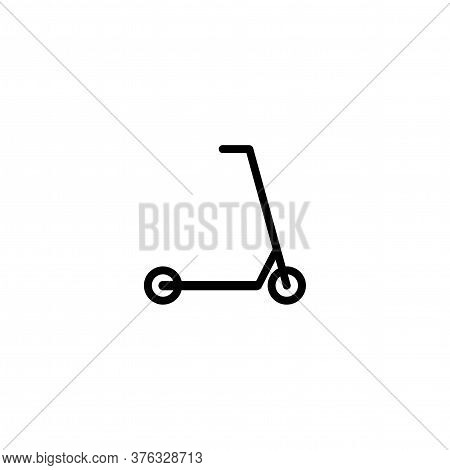 Black Kick Scooter Or Balance Bike Icon. Flat Push Scooter Isolated On White