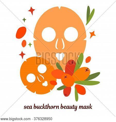 Illustration With Beauty Masks For Face Skin. Skin Care Masks Based On Sea Buckthorn Berries. Natura