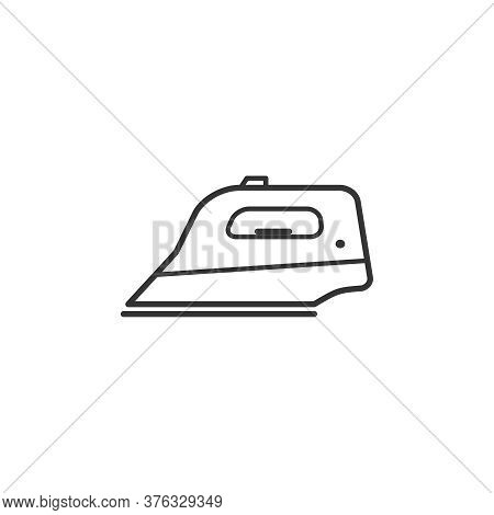 Iron Household Domestic Appliances Thin Line Icon Outline Vector Symbol. Smoothing-iron Linear Sign