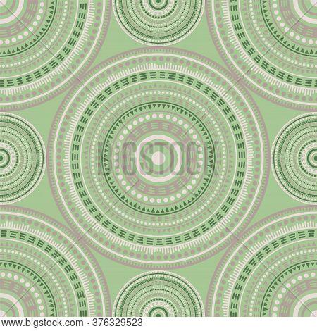 Arabic Ethnic Motifs Seamless Pattern. Circle Medallion Mandala Abstract Flowers. Fabric Print Templ