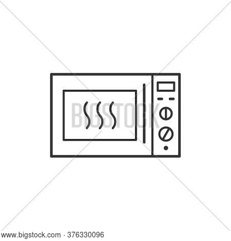 Microwave Oven Kitchen Household Domestic Appliances Thin Line Icon Outline Vector Symbol. Microwave