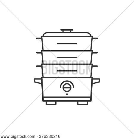Double Boiler Kitchen Household Domestic Appliances Thin Line Icon Outline Vector Symbol. Cooker Ste