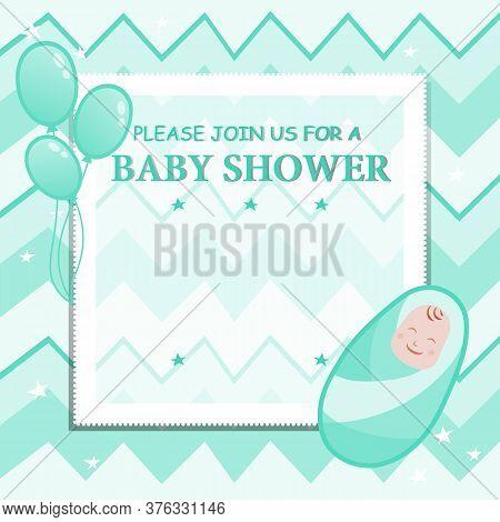 Baby Shower Boy Invitation Card Design Concept. Beautiful Invitation Greeting Card For Childbirth Wi