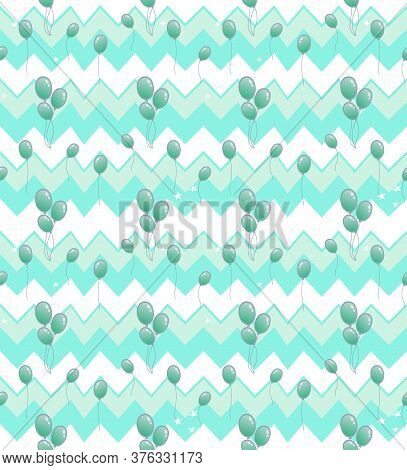 Concept Of Holiday Celebration. Beautiful Seamless Pattern With Air Many Balloons In Quite Tones. Ab