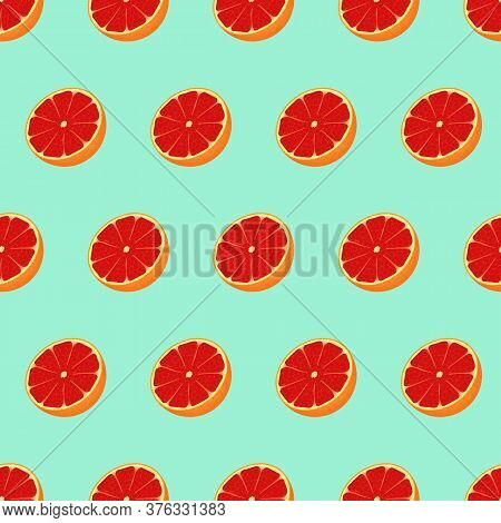 Beautiful Seamless Pattern With Many Grapefruits. Modern Design Template. Cute Sweet Tasty Grapefrui