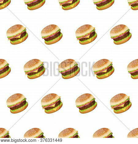 Beautiful Seamless Pattern With Many Hamburgers. Modern Design Fastfood Template. Cute Tasty Burgers