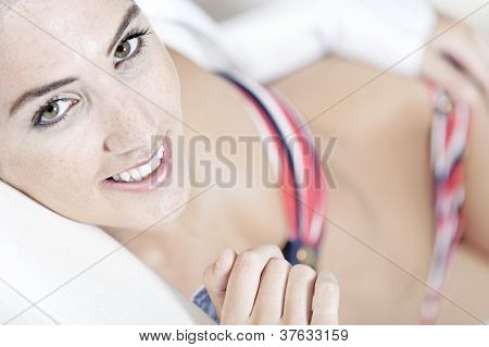 Woman In Red Bikini And White Shirt