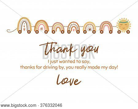 Cute Thank You Card With Train From Pastel Scandinavian Rainbow, Star. Baby Shower Element. Vector