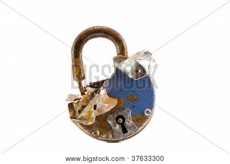 Old Broken Lock Isolated On White