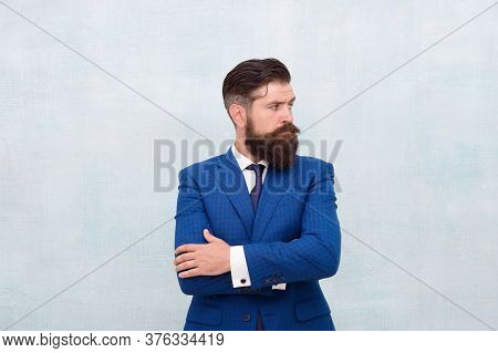 Looking For Leads. Businessman Has Long Beard. Hair Salon And Barbershop. Business Casual Style. Giv