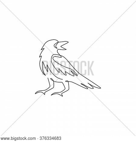 One Single Line Drawing Of Mysterious Raven For Company Business Logo Identity. Crow Bird Mascot Con