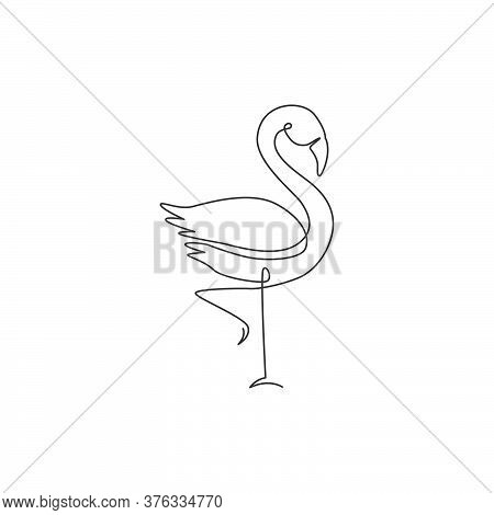 One Single Line Drawing Of Exotic Flamingo For Company Business Logo Identity. Flamingo Bird Mascot