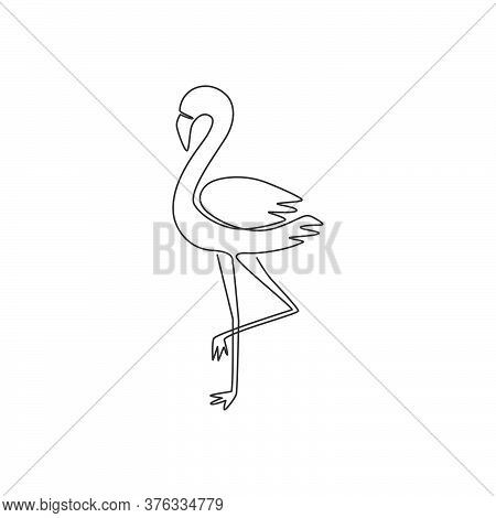 One Continuous Line Drawing Of Beauty Flamingo For City Animal Zoo. Flamingo Mascot Concept For Bird
