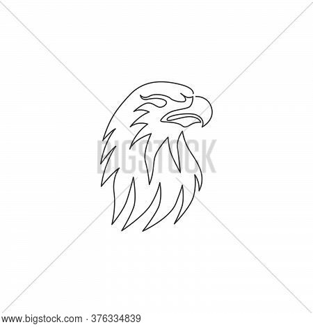 One Single Line Drawing Of Strong Eagle Head Bird For Company Business Logo Identity. Falcon Mascot
