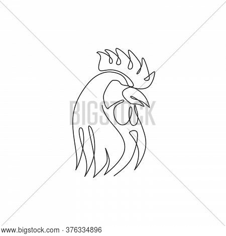 One Continuous Line Drawing Of Tough Rooster For Poultry Business Logo Identity. Chicken Mascot Conc