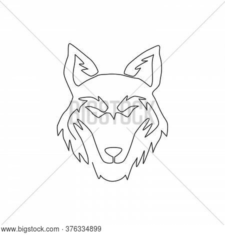 One Continuous Line Drawing Of Dangerous Wolf Head For Business Logo Identity. Wolves Mascot Emblem