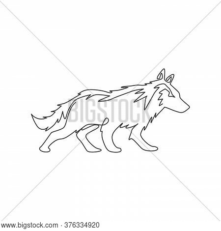 Single Continuous Line Drawing Of Mysterious Wolf For E-sport Team Logo Identity. Strong Wolves Masc