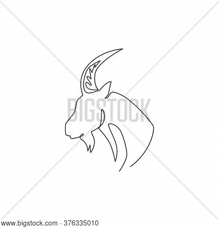 Single Continuous Line Drawing Of Strong Tough Goat Head For Business Logo Identity. Lamb Mascot Emb