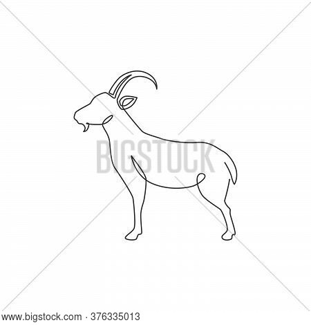 Single Continuous Line Drawing Of Strong Tough Goat For Business Logo Identity. Lamb Emblem Mascot C