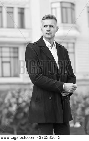Man Classic Style Urban Background. Successful And Motivated. Business Man Wear Fashionable Coat. Bu