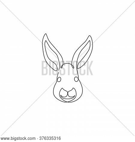 One Continuous Line Drawing Of Adorable Rabbit Head For Animal Lover Club Logo Identity. Cute Bunny