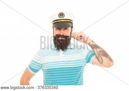 Calm Down Im Sailor. Happy Sailor Isolated On White. Sailor Or Seaman Twirl Moustache. Mariner Sailo