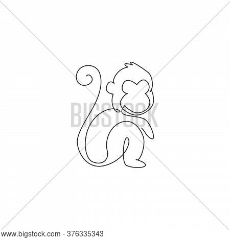 One Continuous Line Drawing Of Cute Sitting Monkey For Conservation Jungle Logo Identity. Adorable P