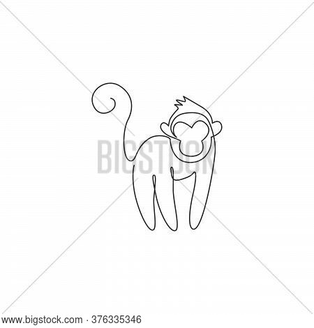 One Single Line Drawing Of Cute Monkey For Company Business Logo Identity. Adorable Primate Animal M