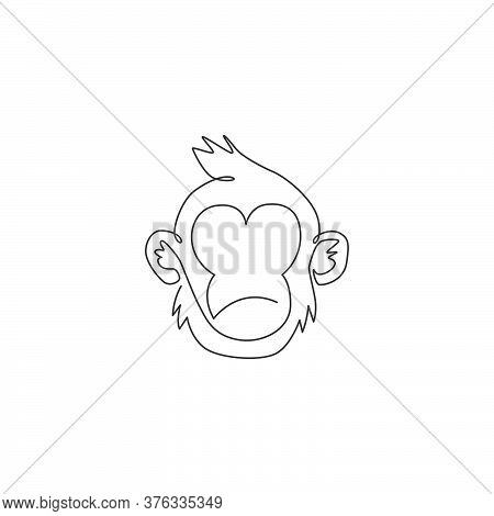 One Single Line Drawing Of Cute Thinking Monkey Head For Company Business Logo Identity. Adorable Pr