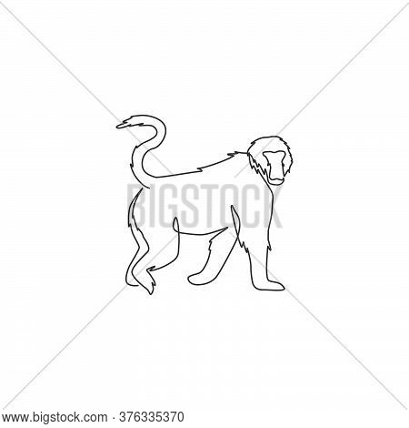 One Continuous Line Drawing Of Walking Baboon For Conservation Jungle Logo Identity. Primate Animal