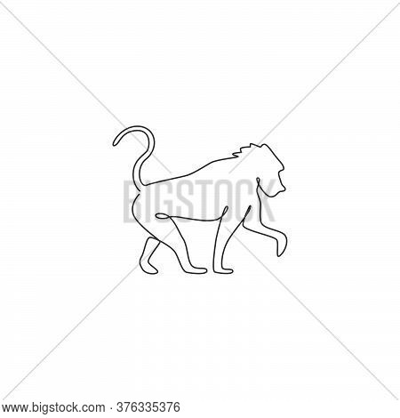 One Single Line Drawing Of Baboon For Company Business Logo Identity. Primate Animal Mascot Concept