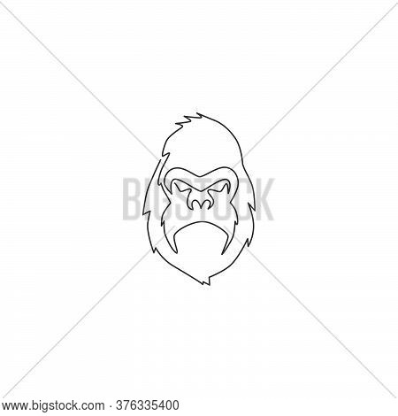 Single Continuous Line Drawing Of Gorilla Head For National Zoo Logo Identity. Ape Primate Animal Po