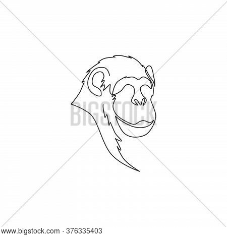 One Single Line Drawing Of Cute Smiling Chimpanzee Head For Company Business Logo Identity. Adorable