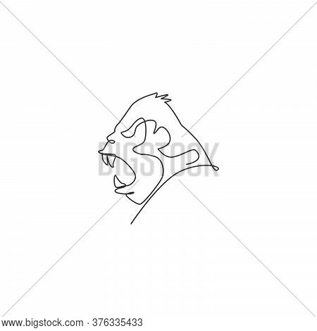 One Continuous Line Drawing Of Gorilla Head For National Park Logo Identity. Primate Animal Portrait