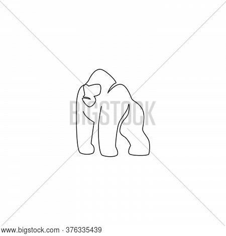 One Continuous Line Drawing Of Gorilla For National Park Logo Identity. Ape Primate Animal Portrait