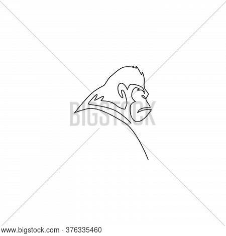 One Single Line Drawing Of Gorilla Head For Company Business Logo Identity. Primate Animal Portrait