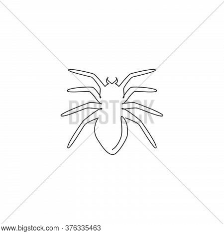 One Single Line Drawing Of Poisonous Spider For Logo Symbol Identity. Arachnid Pet Concept For Insec