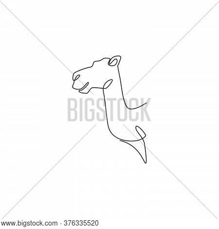 Single Continuous Line Drawing Of Head Desert Arabic Camel For Logo Identity. Cute Dromedary Mammal