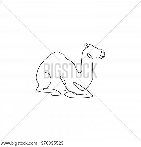 Single Continuous Line Drawing Of Strong Desert Arabic Camel Sitting For Logo Identity. Cute Dromeda