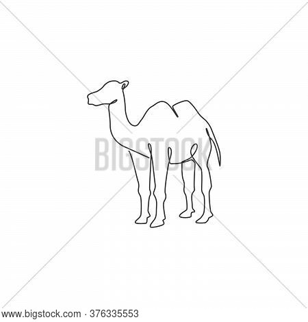 One Continuous Line Drawing Of Arabian Desert Camel For Livestock Business Logo Identity. Dromedary