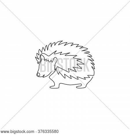 One Continuous Line Drawing Of Cute Little Hedgehog For Logo Identity. Adorable Mini Spiky Rodent An